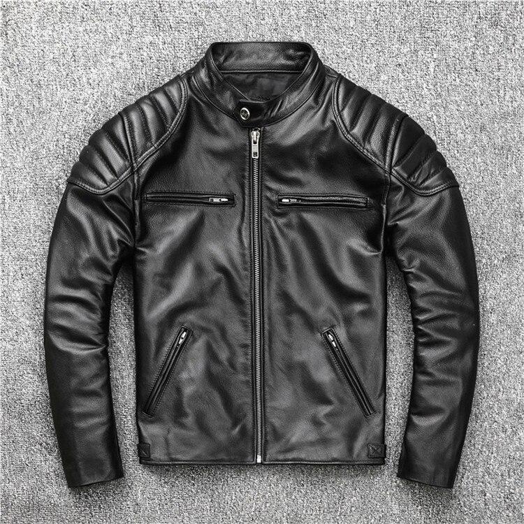 Free Shipping.fashion Style Warm Mens Coat,biker Cowhide Jacket,black Genuine Leather Coat.plus Size Homme Slim,cool