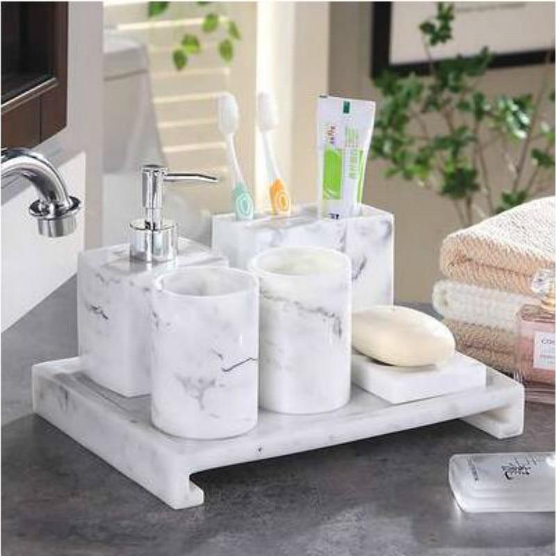 Diamond Bathroom Five-piece Wash Suit Bathroom Kits Simple Bathroom Brushing Cup Mug Cup Set LO724410
