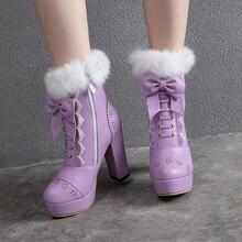 SARAIRIS/ботильоны на платформе; женская обувь на платформе с молнией; Очаровательная Женская обувь в стиле Лолиты с бантом; женские ботинки; большие размеры 48