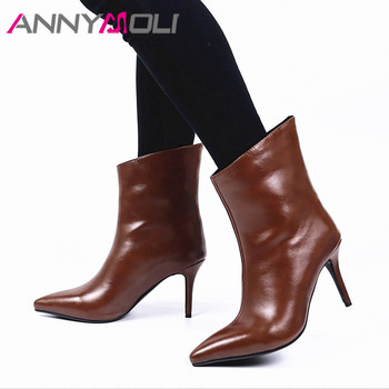 ANNYMOLI Woman Boots Extreme High Heel Ankle Boots Pointed Toe Short Boots Stiletto Heel Female Shoes Autumn Winter Brown 34-43 haraval handmade winter woman long boots luxury flock round toe soft heel shoes elegant casual warm retro buckle solid boots 289