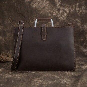 Men's leather business shoulder bag handbag leather men's bag crazy horse skin men's horizontal style head leather business bag