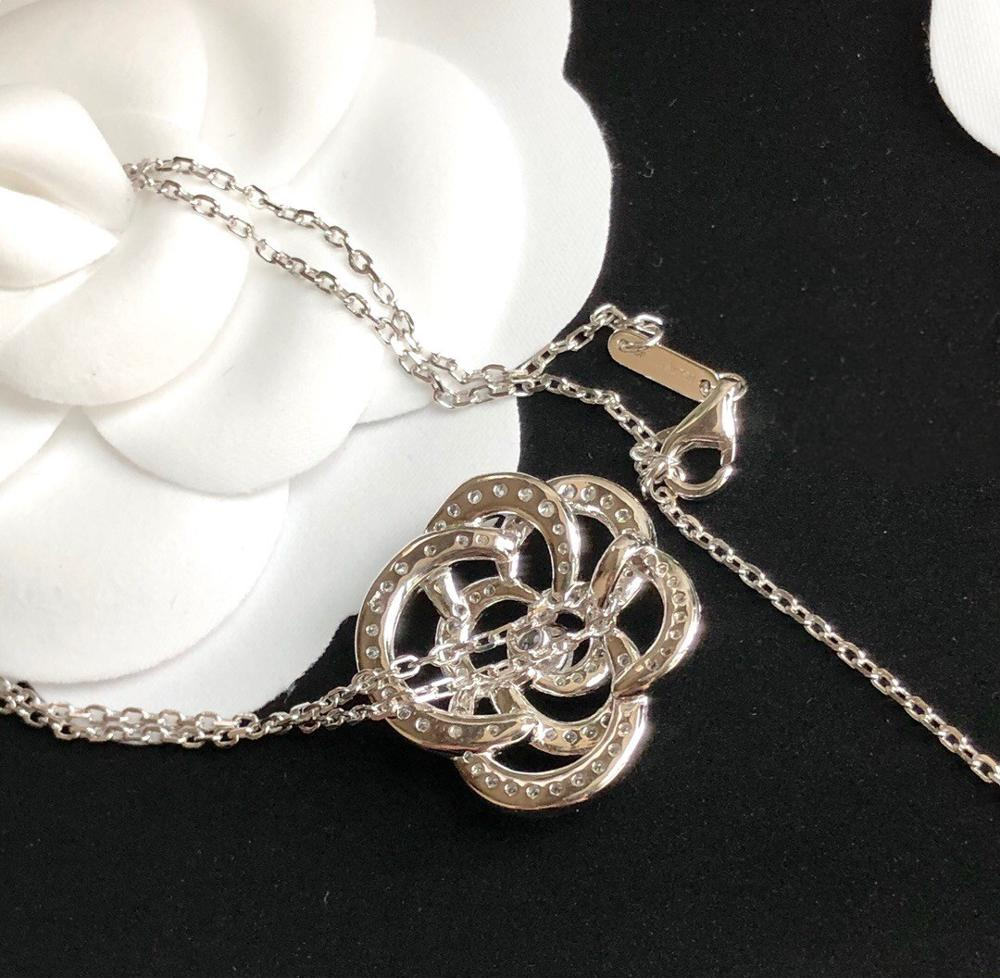 Brand Pure 925 Sterling Silver Jewelry For Women Lotus Flower Neckalce Flower Pendant Luck Clover Sakura Wedding Party Necklace