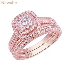 Newshe 2Pcs עלה זהב צבע חתונה לנשים 925 כסף סטרלינג טבעת אירוסין כלה סט 1.6Ct AAA מעוקב זירקון QR5712