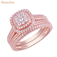 Newshe 2Pcs Rose Gold Color Wedding Rings For Women 925 Sterling Silver Engagement Ring Bridal Set 1.6Ct AAA Cubic Zircon QR5712