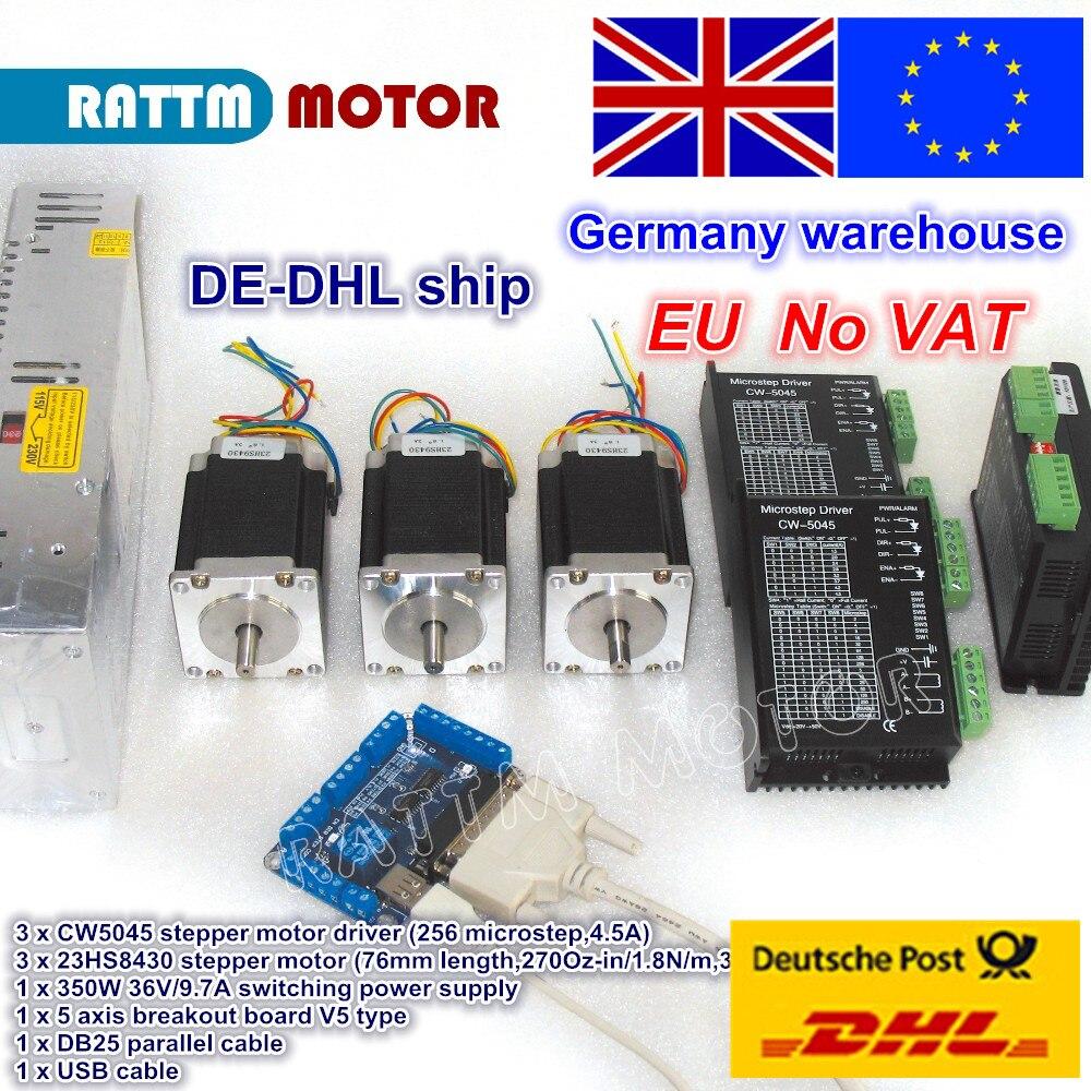 ЕС Бесплатный НДС 3 оси набор контроллеров CNC NEMA23 270oz-in шаговый двигатель и драйвер CW5045 256 microstep 4.5A и 350W 36V источник питания