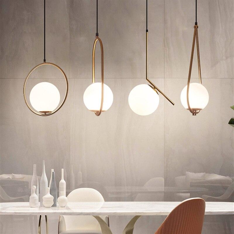Подвесные светильники в скандинавском стиле, Белый Круглый глобус, стеклянный подвесной светильник для гостиной, столовой, подвесной свети...