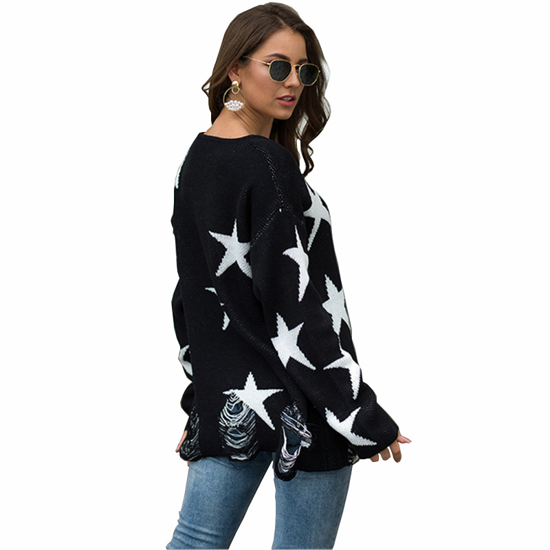 Sweater Women's Five Point Star Large O Neck Crew Neck Te