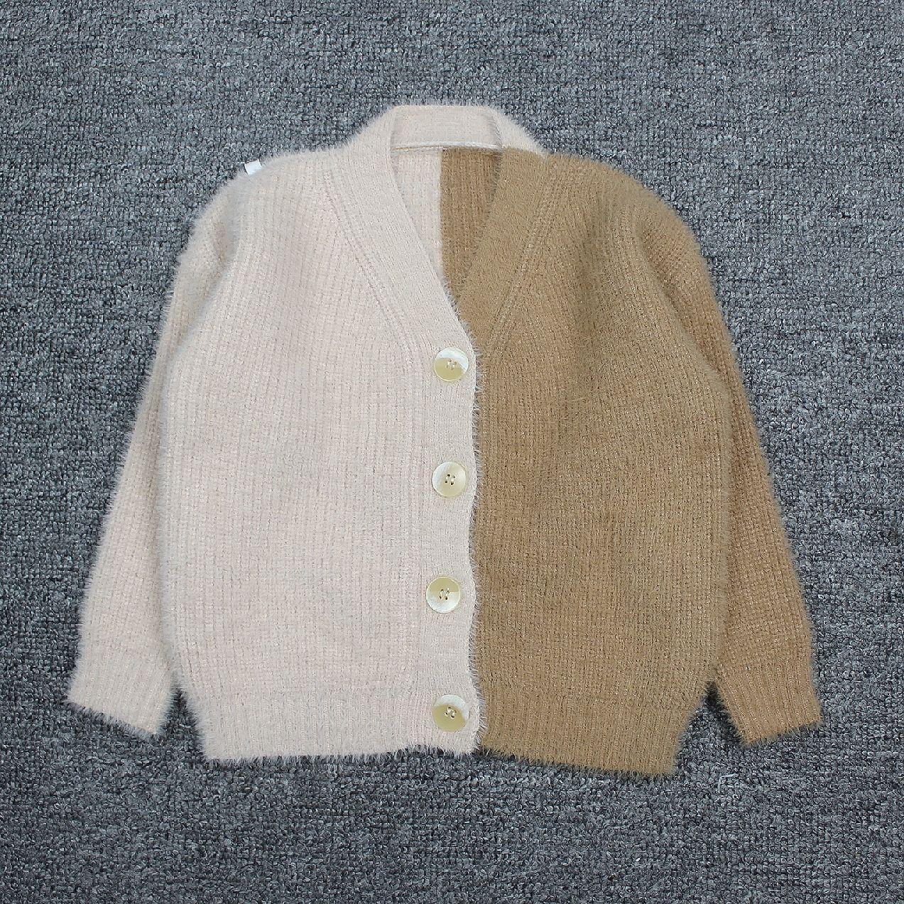 2019 autumn Baby knit Sweaters children Brown Beige Colorblock mohair Cardigan Toddler girls sweater Kids Clothes age 2 3 4 6 8 in Sweaters from Mother Kids