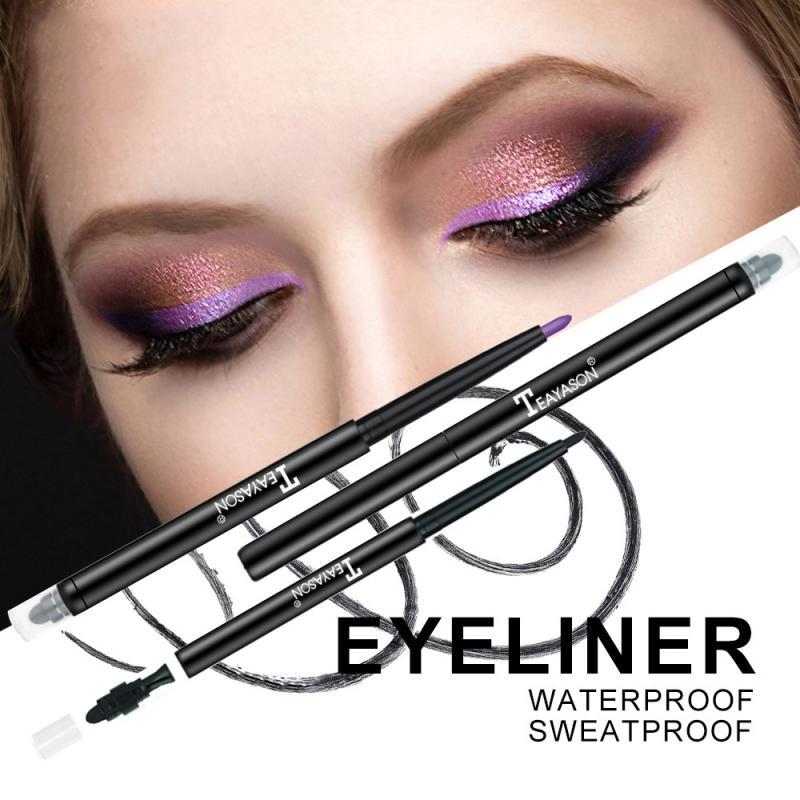 11 cores duplo-headed cor delineador de secagem rápida não florescendo à prova dwaterproof água olho maquiagem caneta duradoura de alto brilho deitado silkworm caneta
