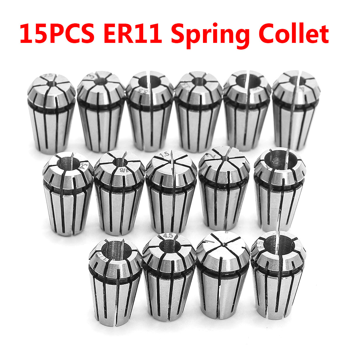 15PCS ER11 Spring Collet Set For CNC Engraving Machine & Milling Lathe Tool Tool Holder Freeshipping