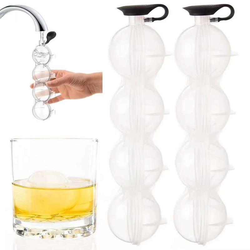 Коробка с 4 отверстиями для изготовления виски, круглая форма для хоккея на льду, форма для льда, силиконовая форма для изготовления шариков ...