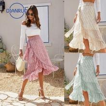 DIANRUO 2021 Summer Fashion Strap Split Women Dress Irregular Floral Chiffon Skirt French Pastoral Womens Long Skirts Q607