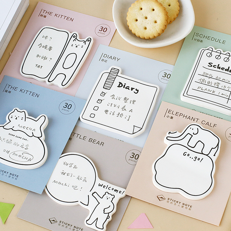 30 Pages Ins Popular Memo Pad Cute Animal Sticky Note Check List Planner Sticker Stationery Office Supplies