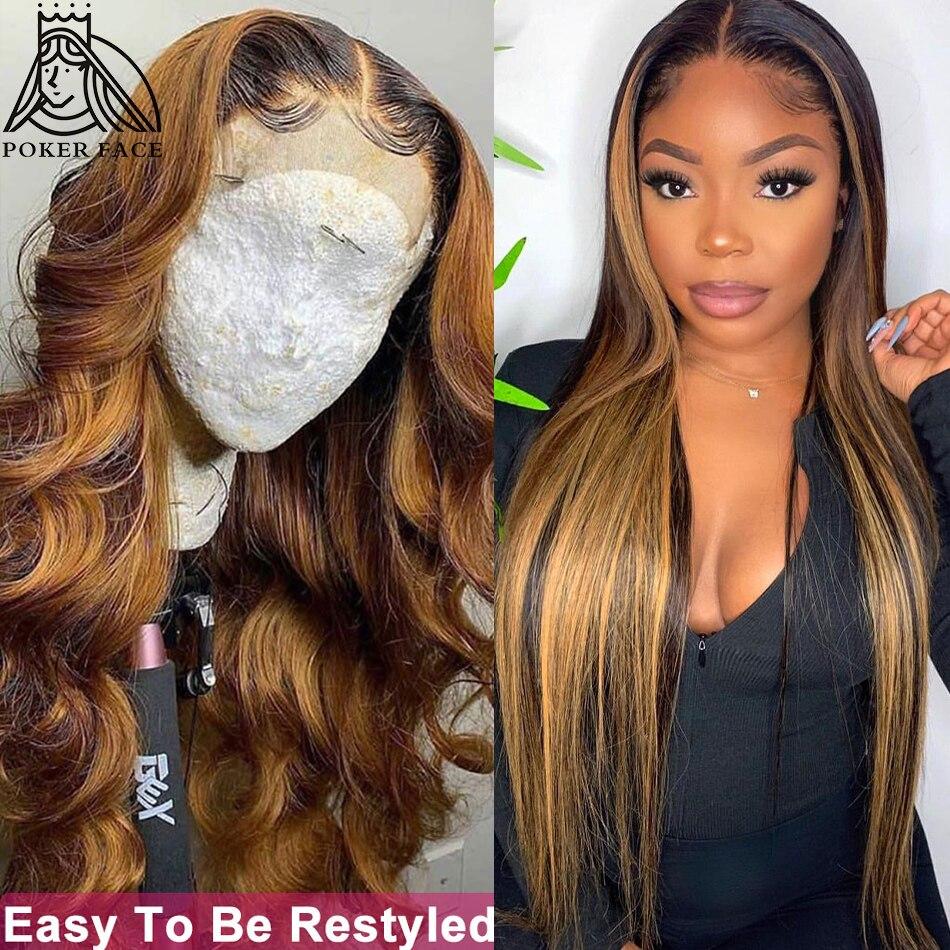 30 32 дюймов с прямыми Выделите 4/27 эффектом деграде (переход от темного к Цветной часть синтетические волосы кружевные парики предварительно ...