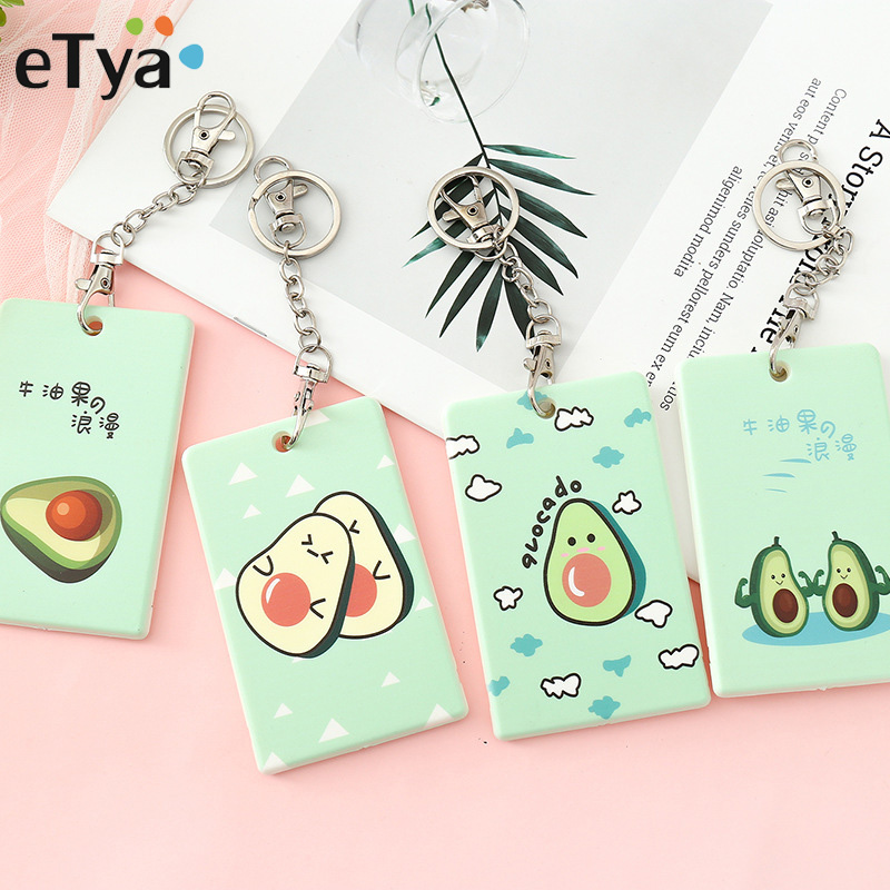 ETya Cartoon Cute Bank Credit Card Holder Wallet Protector Case Men Women Kids Bus ID Card Holder Bag Identity Badge Card Cover