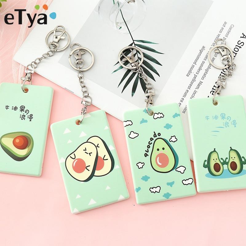 ETya Cartoon Cute Bank Credit Card Holder Wallet Protector Case Men Women Kids Bus ID Card Holder Bag Identity Badge Card Cover