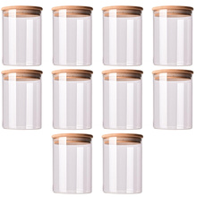 10pcs Durable Glass Sealed  Can Food Storage Tank Bamboo Lid Tea Canister Glass Reusable Jar Tank Can for Grain Candy