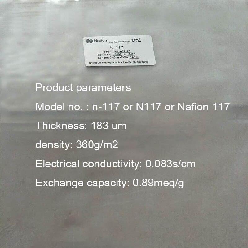 Perfluorosulfonic Acid Ion Membrane Nafion 117 (10*10cm) DuPont Proton Exchange Membrane N117 Proton Membrane