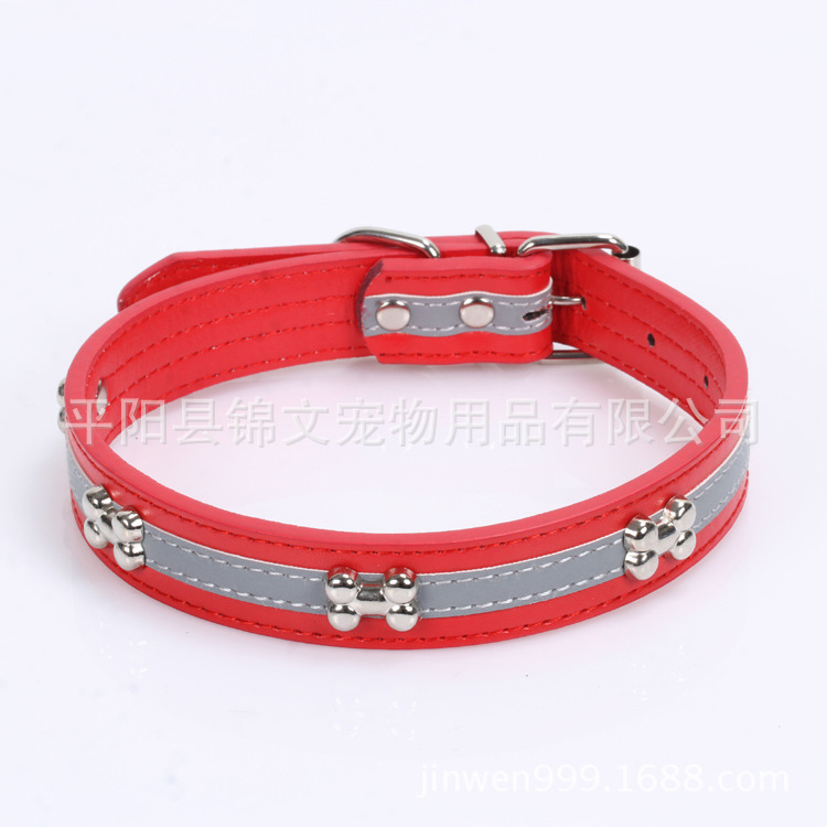 Reflective Bone PU Leather Pet Collar Dog Necklace Pingyang Pet Supplies For Dog Belt Factory