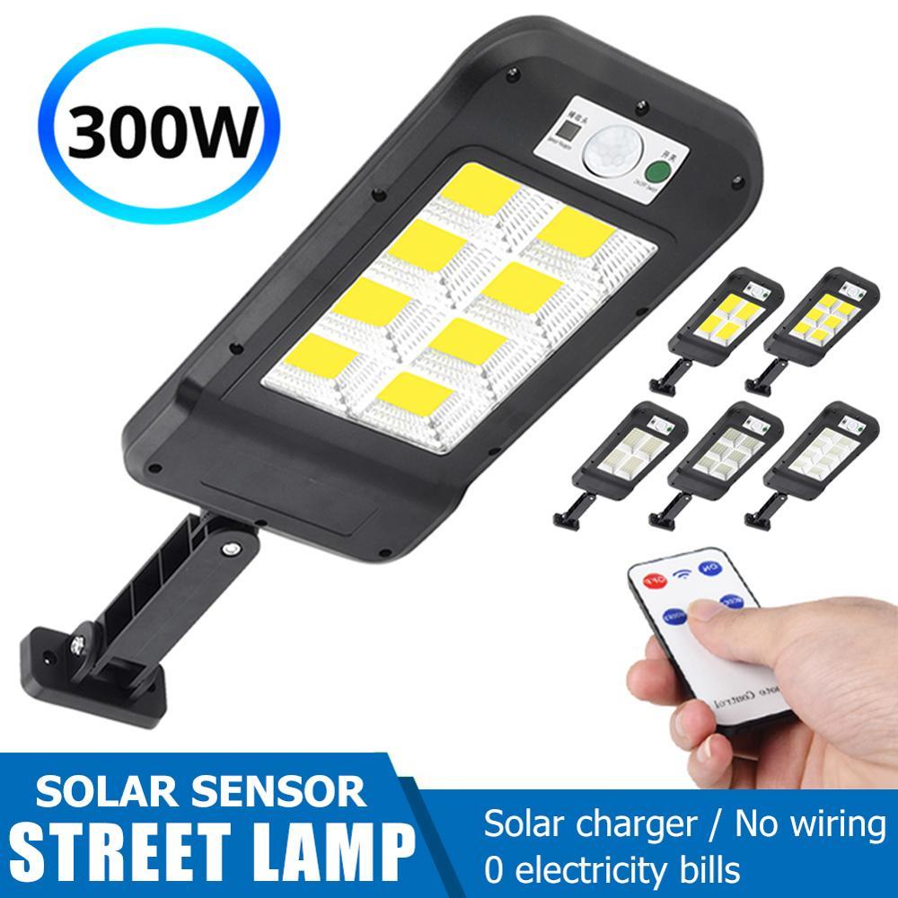 Remote Control Upgraded Cob/led Solar Light Pir Motion Sensor Ip65 Outdoor Solar Wall Street Light Waterproof Lamp Dropshipping