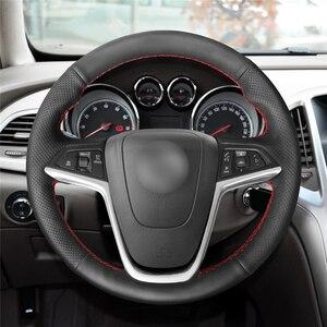 Image 2 - MEWANT Black Artificial Leather Steering Wheel Cover for Opel Mokka Insignia Astra (J) Meriva (B)  Ampera Cascada Zafira Tourer