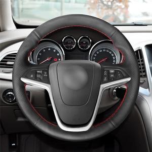Image 2 - MEWANT Opel Mokka Insignia Astra (J) Meriva (B) Ampera Cascada Zafira Tourer 용 검은 인조 가죽 핸들 커버