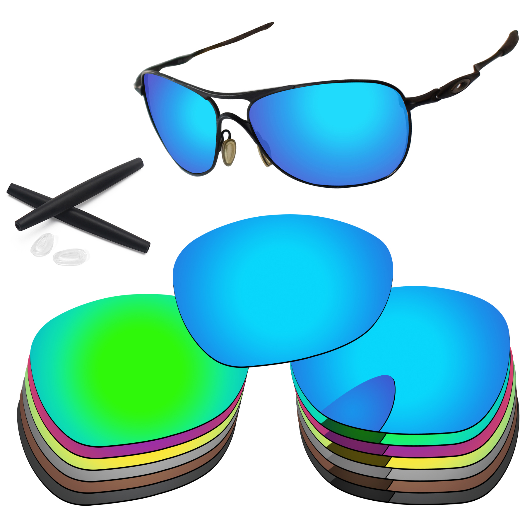 PapaViva Polarized Replacement Lenses and Ear Socks & Nose Pads for Authentic Crosshair New 2012 OO4060 - Multiple Options