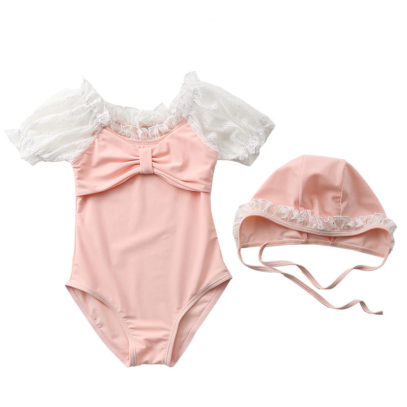 Baby Swimsuit Girls Swimwear One Piece With Cap Lace Sleeve Infant Bikini Children Swimming Suit Bathing Clothes Girl Beach Wear