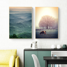 Forst Landscape Canvas Painting Sunset Wall Art Print Cow Animal Nordic Poster Modern Pictures For Living Room