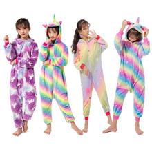 Flanelowe jednorożec koc dzieci Kigurumi Kigurumi piżamy jednorożec Onesie dla dzieci piżamy kombinezon piżamy kombinezony 4-12Yrs tanie tanio Poliester Unisex Pasuje mniejszy niż zwykle proszę sprawdzić ten sklep jest dobór informacji Zwierząt Cartoon Drukuj