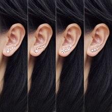 925 Sterling Silver Long Ear Cuff For Women Shiny Crystal Stud Earrings Ladies F