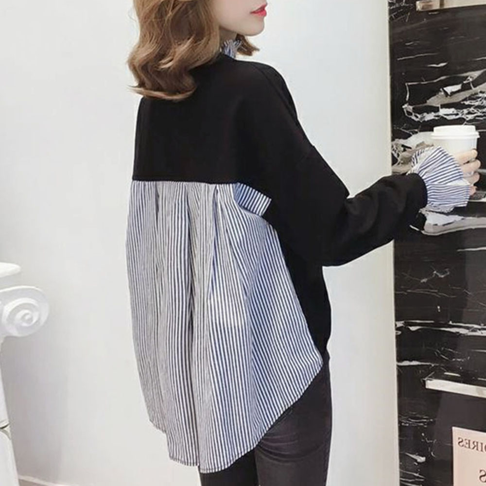 Long Sleeve Women Blouse 2020 Spring Autumn Korean Fashion Striped Patchwork Chic Loose Female Tops Causal Ladies Shirt