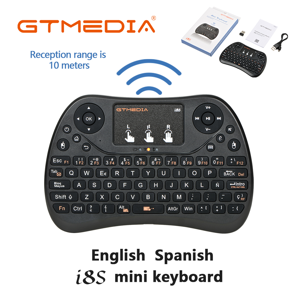 1 pcs New <font><b>i8s</b></font> Mini <font><b>Wireless</b></font> <font><b>Keyboard</b></font> 2.4G Spanish English 3 Color Air Mouse with Touchpad Remote Control TV Box with Android image