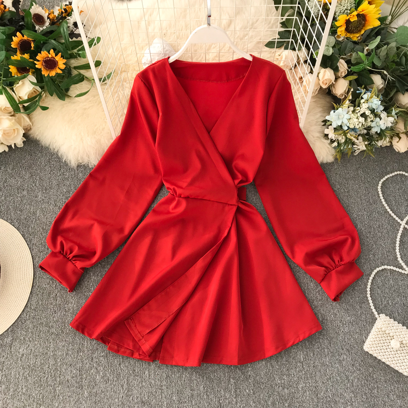 2019 New Fashion Women's Autumn Dress V-Neck  Dresses  Winter Dress