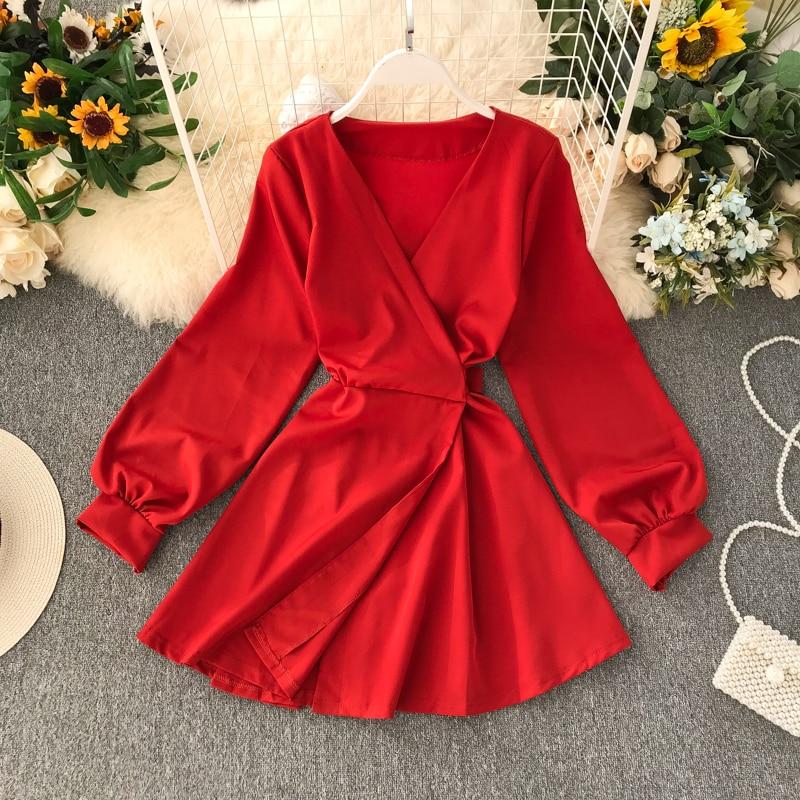 2019 New Fashion Women's Autumn Dress V-Neck  Dresses  Winter Dress