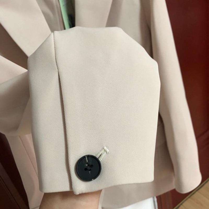 2020 Spring Autumn Black With Sashes Blazer Woman Korean Slim Solid Suit Jacket Coat Female Outwear Office Lady Blazers Feminino