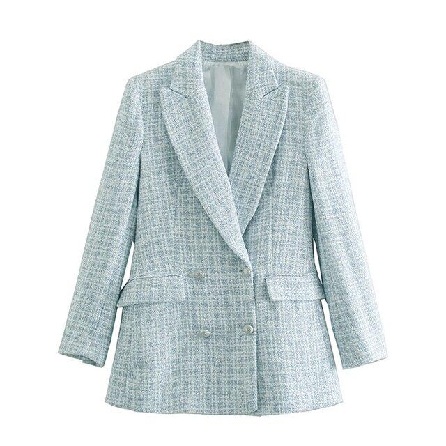 Za 2021 Women Suit Jacket Tweed Blazer Women Jacket Femme Plaszcz Wiosenny Damski Sobrecamisa Cuadros Plaid Checkered Blazer 3