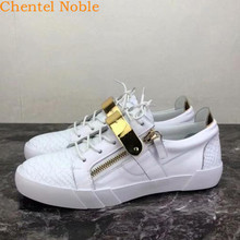 Casual Shoes Flats Tenis White-Color High-Quality Chentel Masculino Brand Metal-Band