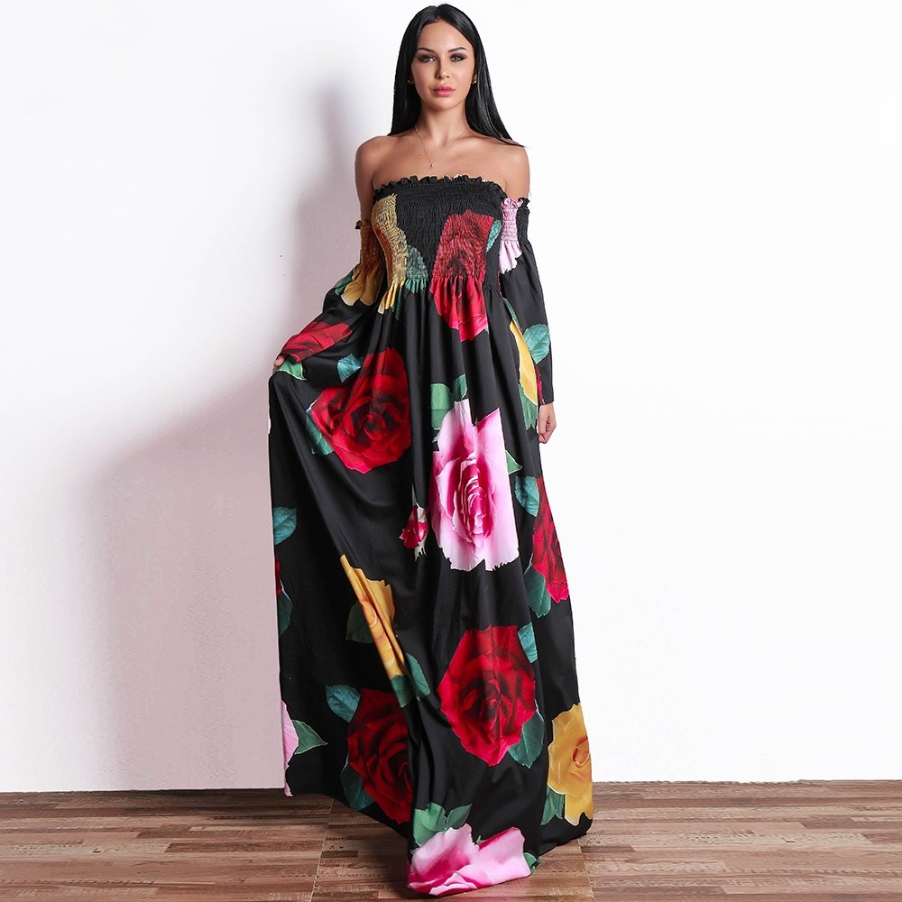 2018 Women Flower Print A Line Dress Off The Shoulder Full Sleeve Boho Beach Party Backless Vestidos