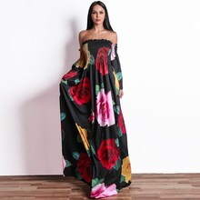 2018 Women Flower Print A Line Dress Off The Shoulder Full Sleeve Boho Beach Party Backless Vestidos