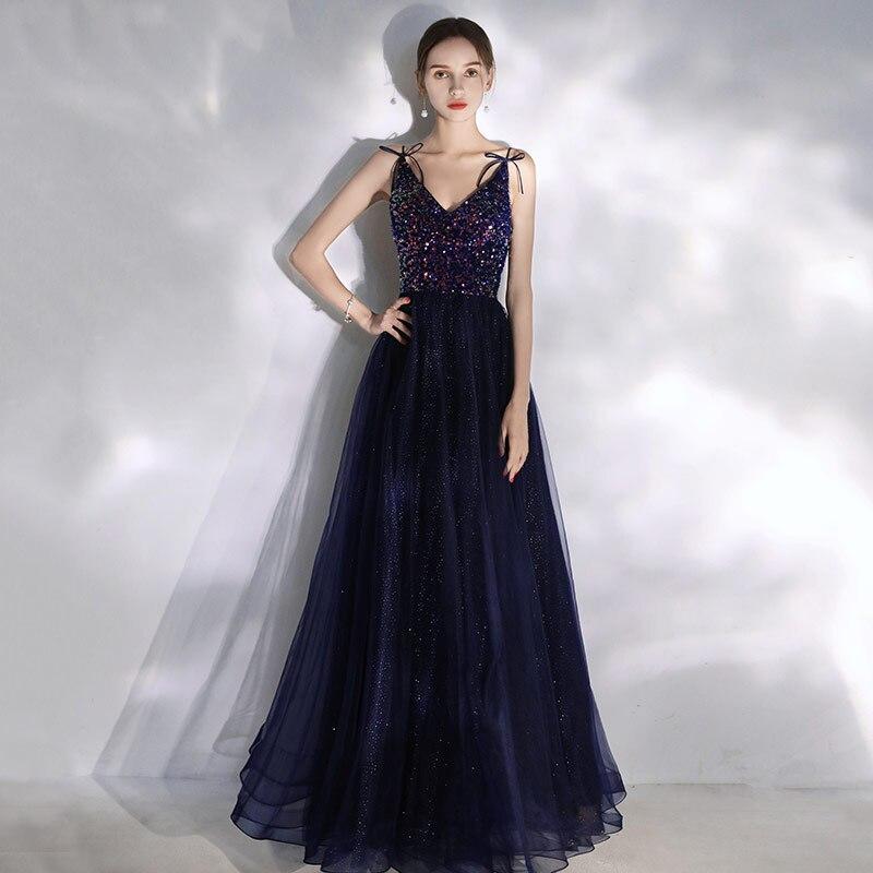Элегантные платья для выпускного вечера, новинка 2020, блестящие тюлевые Длинные вечерние платья с блестками, v-образный вырез, открытая