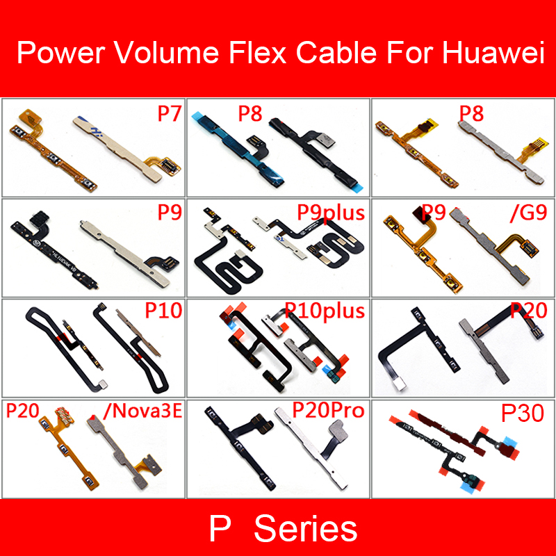Power & Volume Button Flex Cable For Huawei P7 P8 P9 P10 P20 P30 Lite Plus Pro Cell Phone Side Key Audio Control Butoon Parts
