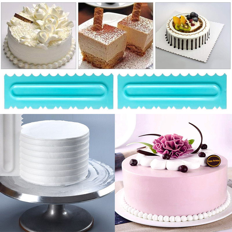 High Quality 4PCS <font><b>Cake</b></font> Decorating Comb Icing Smoother <font><b>Cake</b></font> <font><b>Scraper</b></font> <font><b>Pastry</b></font> Textures Baking Tools for <font><b>Cake</b></font> Mold Tool Free Shipping image
