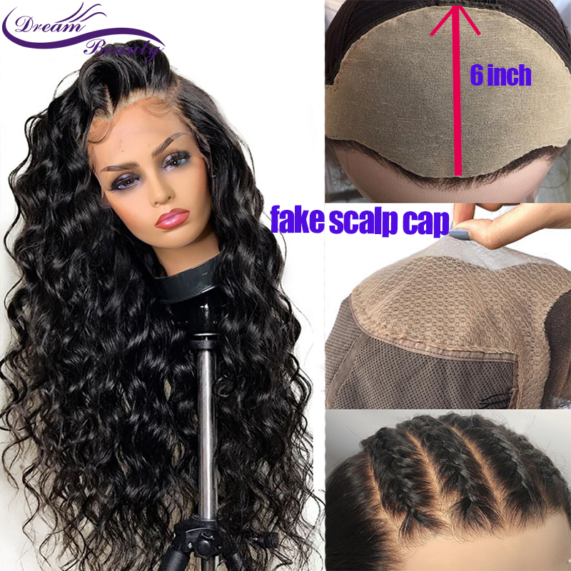 Fake Scalp Wig With 6inch Deep Part Pre Plucked Hairline Brazilian Remy Wavy 13x6 Lace Front Human Hair Wigs Dream Beauty