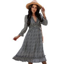 Chiffon Ruffles Beach boho vintage dress for women 2021 summer V-neck Sexy printed midi Party dress women vestidos dress