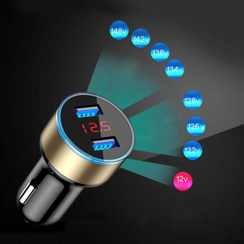 Accesorio cargador de auto 2 puertos pantalla LCD 12-24V enchufe de mechero de cigarrillo Dual USB profesional 3.1A para teléfono inteligente