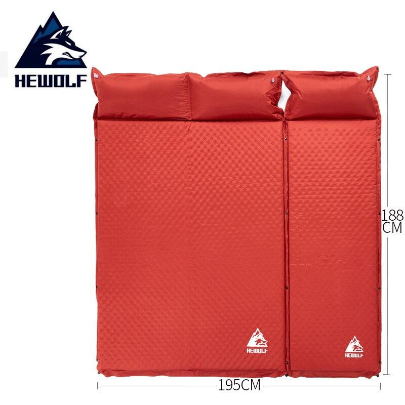 HEWOLF 2 + 1 сплайсированные уличные толстые 5 см автоматические надувные подушечки для уличной палатки походные коврики кровать матрас 2 цвета