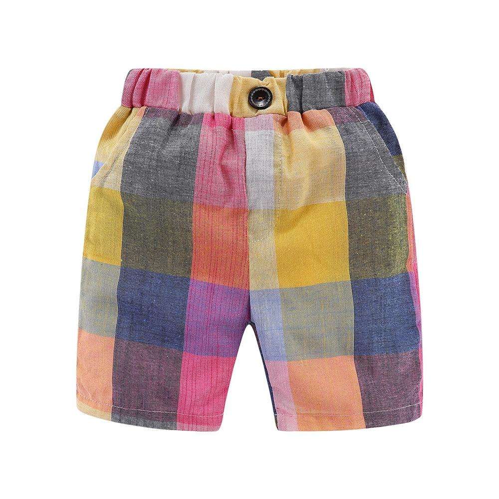 Mudkingdom Boys Summer Shorts Rainbow Color Classic Plaid Elastic Waist Casual Cotton Shorts 2