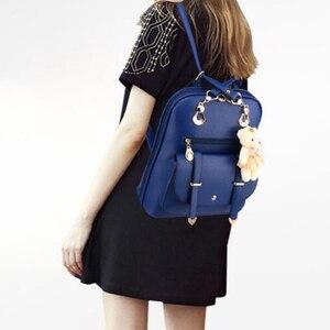 Image 5 - Preppy Style Women Backpack Bear Toys PU Leather Schoolbags for Teenage Girls Female Rucksack Shoulder Bag Travel Knapsack