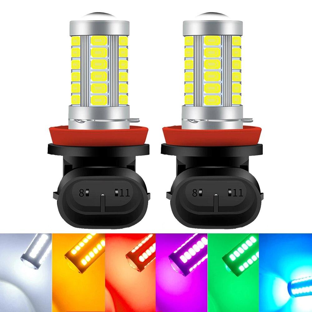 2 шт. H8 H9 светодиодный H11 9005 HB3 9006 HB4 Автомобильный светодиодный Туман головной светильник лампы 6000K белый противотуманной фары Дневные ходовы...